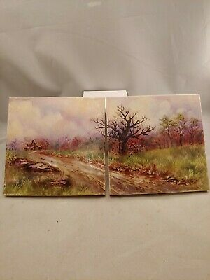 Handpainted Ceramic Tiles matching pair signed by artist
