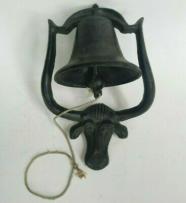 Cast Iron Dinner Bell Farmhouse Wall Mount Cow Vintage Rustic Americana Steer