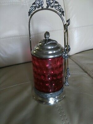 Vintage Cranberry Glass pickel caster with tongs - approx. 10 inches tall