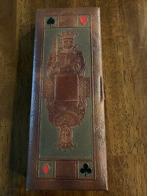 1943 Embossed Leather Playing Cards & Bridge Score Card Holder