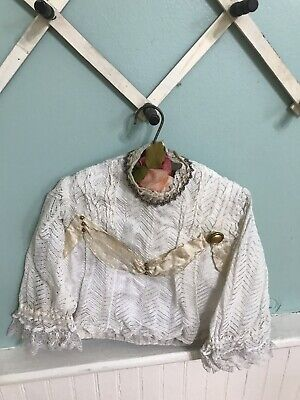 Victorian Lace Blouse 1800's Delicate Beaded Collar Silk Ribbon Trim Edwardian