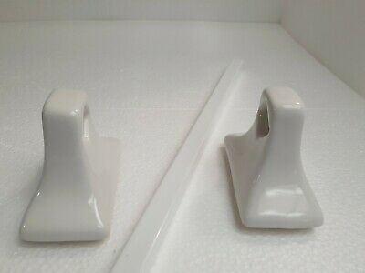 Vintage White Ceramic Towel Bar Rack Rod Holders with Bar Mid Century Modern NOS