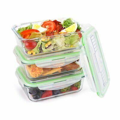 Glass Lunch Boxes Airtight Food Storage Containers - 3 Pack (35oz x 3) + Cutlery