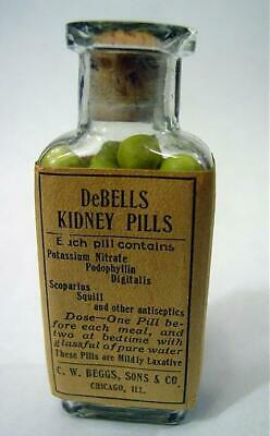1920s DeBells Kidney Pills Bottle W/ Full Contents CW Beggs Co Chicago IL