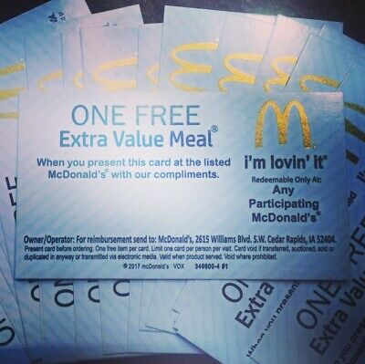 !!!SALE!!! 10x McDonald's Free Extra Value Meal Vouchers No Expiration New.