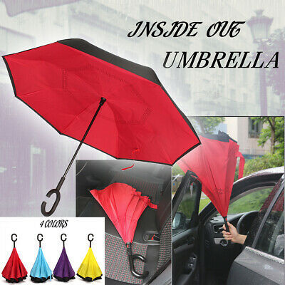 AU  Modern Upside Down Reverse Umbrella C-Handle Double Layer Windproof