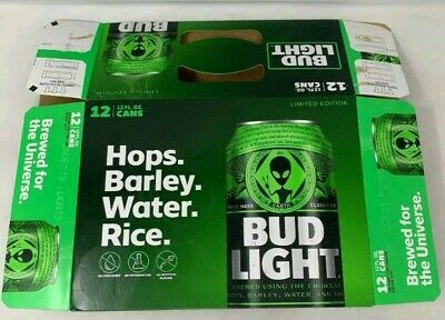 FLAT Empty 12 Pack Box Rare Bud Light Earth Cans Aliens Area 51 Box Only NO CANS