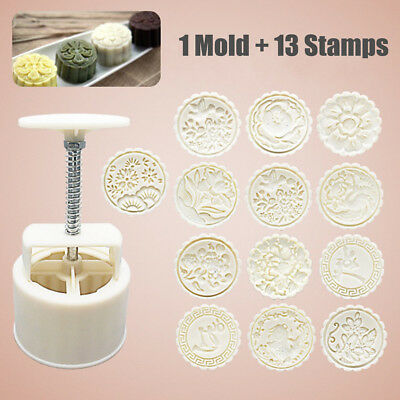 1 Mold+13 Style Flower Stamps 150g Round Moon Cake Mould Hand Pressure Decor
