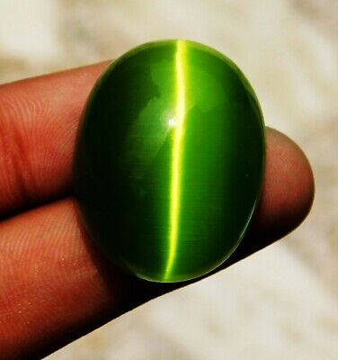 74.50 Cts. Natural Green Color Oval Cabochon Chrysoberyl Cats Eye Gemstone