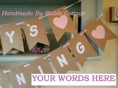 PERSONALISED BANNER Bunting, Wedding,Hen Party,Baby Shower, Birthday,Christening