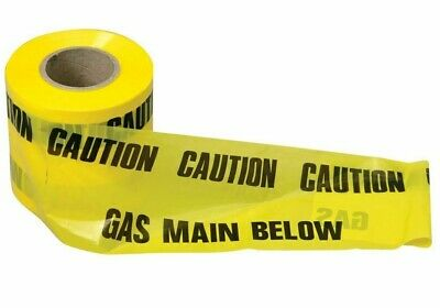 Caution Gas Mains Below Yellow Polythene Tape 115Mm Wide, Multiples 10M Lengths
