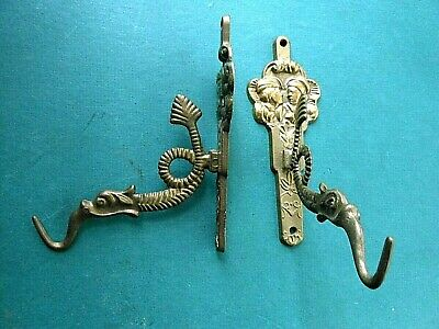 """Vintage Solid Brass Old World/ Chinese Koi Fish/ Dragon Wall HOOKS ~ 5"""" x 4"""""""