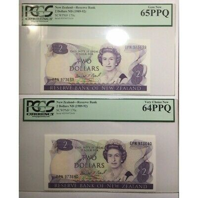 New Zealand 1989 $2 Banknotes Graded PCGS 65-64 PPQ Last Prefix Consecutive Pair