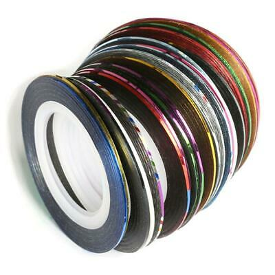 30x Mixed Colors Rolls Striping Tape Line DIY Nail Tips Art Decoration-Stic N7L0