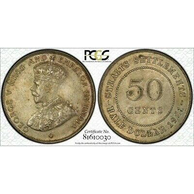 Straits Settlements 1921 Fifty Cent 50C PCGS AU58 aUNC
