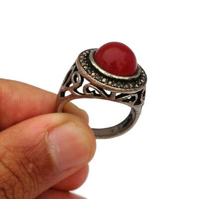 Medieval Vintage Silver Bronze Ring Amazing Red Stone