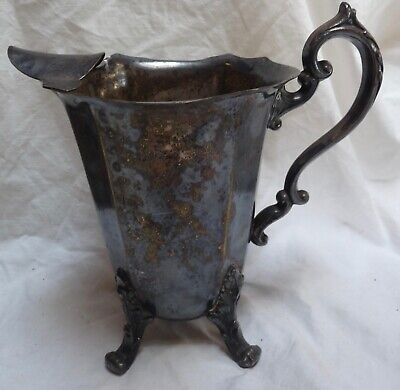 Silver On Copper Water Pitcher with Ice Lip & Claw Feet 8""