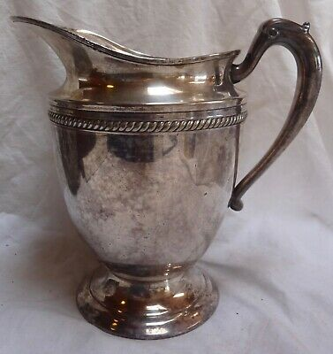 "Silver Water Pitcher 8.5"" Tall 1.5 qt Capacity Marked K S IN"
