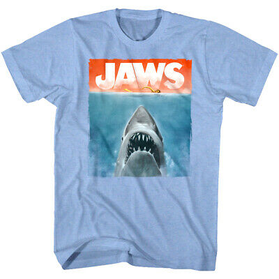 Jaws Watercolor Shark Movie Poster Men's T Shirt Painted Swimmer Ocean Attack