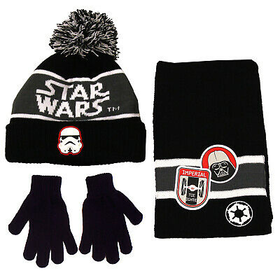 Boys Licensed Star Wars Bobble Winter Hat Scarf Mittens Gloves Age 1-12 Years