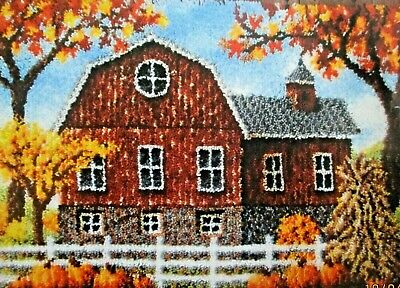 "Latch Hook Rug Making Kit ""AUTUMN BARN"" Scenic design by Craftways"
