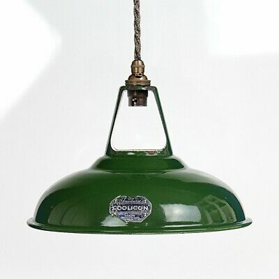 "Coolicon - Rewired Industrial Green Enamel Large 11"" Pendant Lamp - Label 1930s"