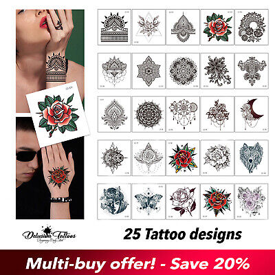 Temporary Tattoo for Men Women Kids Mandala Henna Rose for Hands Waterproof UK