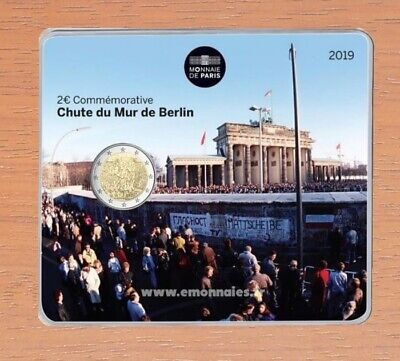 2 euros commemorative France 2019 chute du mur de Berlin Coincard BU DISPONIBLE