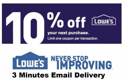ONE Lowes 10% OFF Coupon -INSTORE ONLY LOWE'S    -Fast-Delivery--
