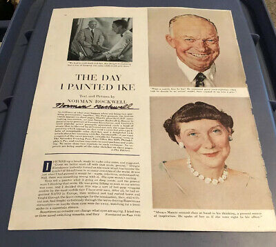 "Signed Norman Rockwell ""The Day I Painted Ike""  The Saturday Evening Post"