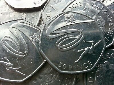 Olympic 50p. London 2012. GYMNASTICS. Fifty pence. Circulated.