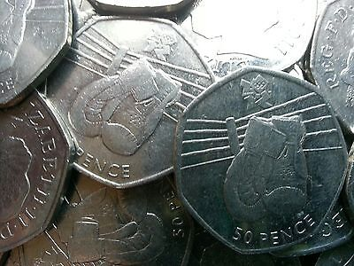 Olympic 50p. London 2012. BOXING. Fifty pence. Circulated.