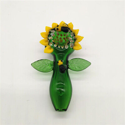 Green Yellow Flower Bee Water Pipe Hookah Bong Tobacco Smoking Small Glass Bowl