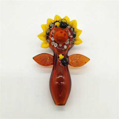 Amber Yellow Flower Bee Water Pipe Hookah Bong Tobacco Smoking Small Glass Bowl
