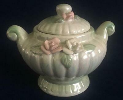 """Vintage Iridescent White & Green Footed Sugar Bowl Pink & White Roses 4-1/8"""""""