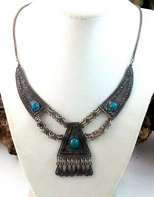 Antique Victorian Sterling Silver Filigree Turquoise Necklace