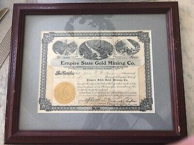 1905 Antique Stock Certificate - Empire State Gold Mining Company