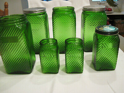 Green Owens-Illinois Canister Set
