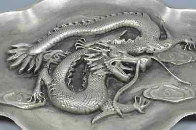 Ancient Collectable Miao SIlver Carve Exorcism Dragon Play Bead Lucky Plates