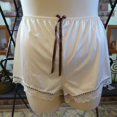Silky Cream Nylon Vintage French Knickers St Michael w 26-40 Brown ribbon