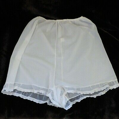 Beautiful White Semi Sheer Vintage Knickers Granny Pants Tricot Nylon w 26-36 in