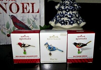 Hallmark Beauty Of Birds Minis~2012,2013,2014~Blue Jay,Woodpecker,Oriole~Mib