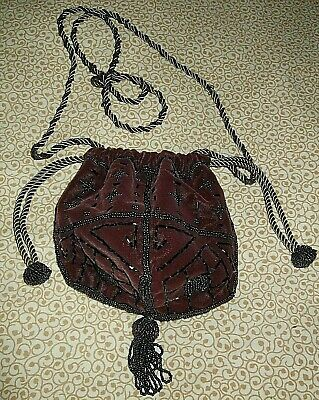 Medieval Embellished Purple Drawstring Bag