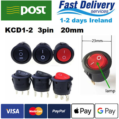 KCD1-2 3pin 23mm ON/OFF Round Rocker Toggle Switch 6A/250VAC 10A 125V