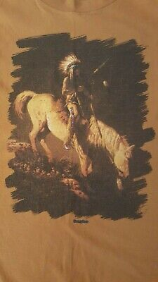 Vintage Native American Indian Chief On Horse Sunglow XL T Shirt Made in USA!
