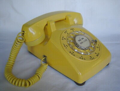Vintage Original Yellow Western Electric Bell Rotary Dial Phone Telephone