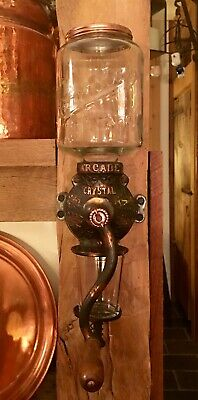 Antique Coffee Mill Grinder Arcade Crystal No 3 Catch Cup Not Original Wallmount