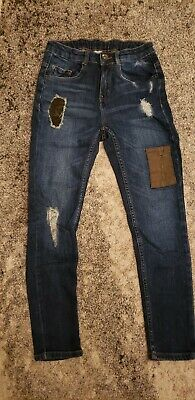 EUC Zara Boys Distressed Blue Skinny Jeans Size 10