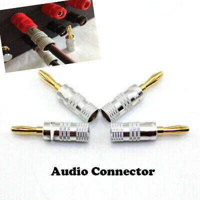 New Durable Gold Plated Hot Connector Banana  Audio Plug Cable Copper Adapter