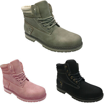 Womens Ladies Faux Fur Grip Sole Winter Warm Ankle Boots Trainers Shoes Size New